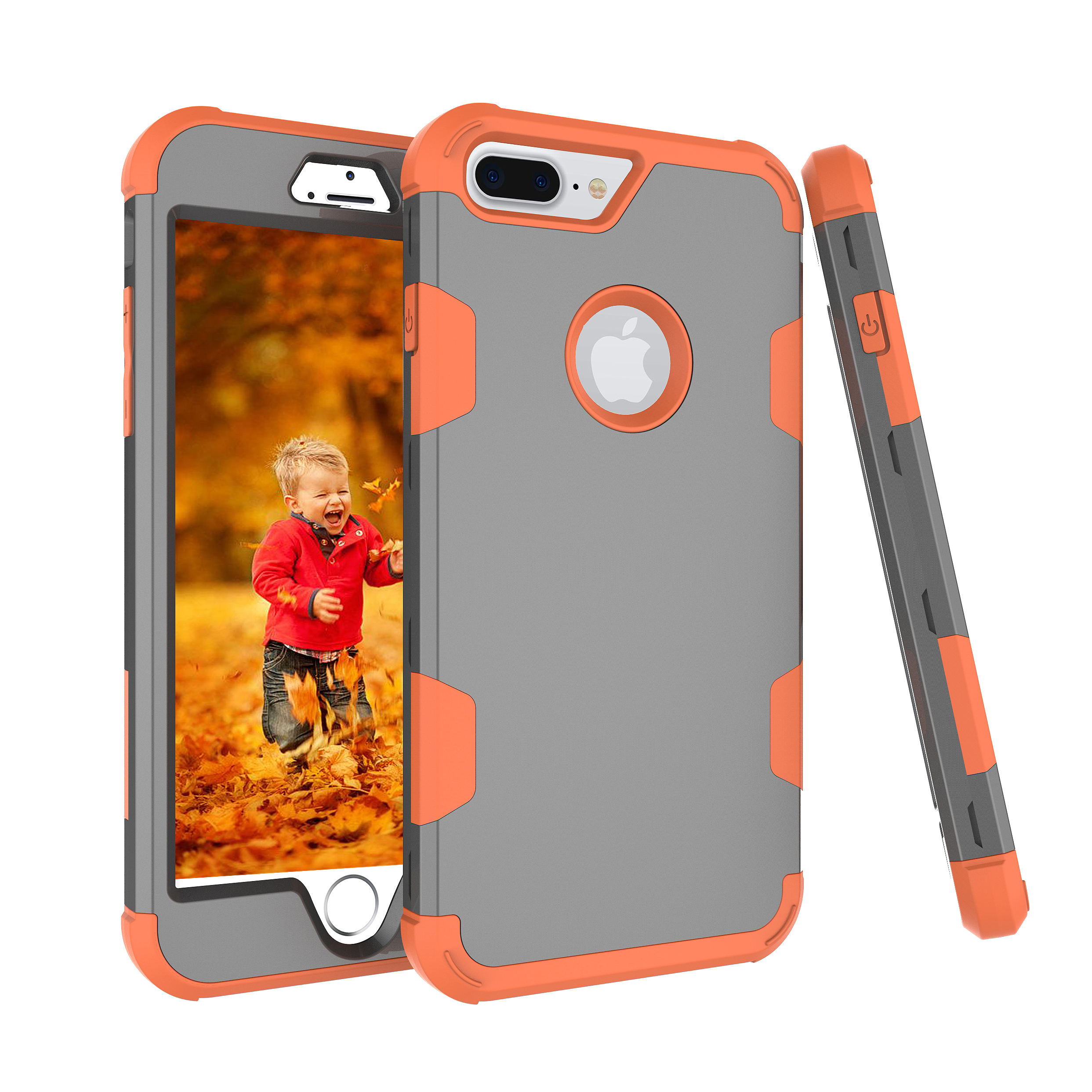 For iPhone 7 plus PC+ Silicone 2 in 1 Hit Color Tri-proof Shockproof Dustproof Anti-fall Protective Cover Back Case Gray + orange