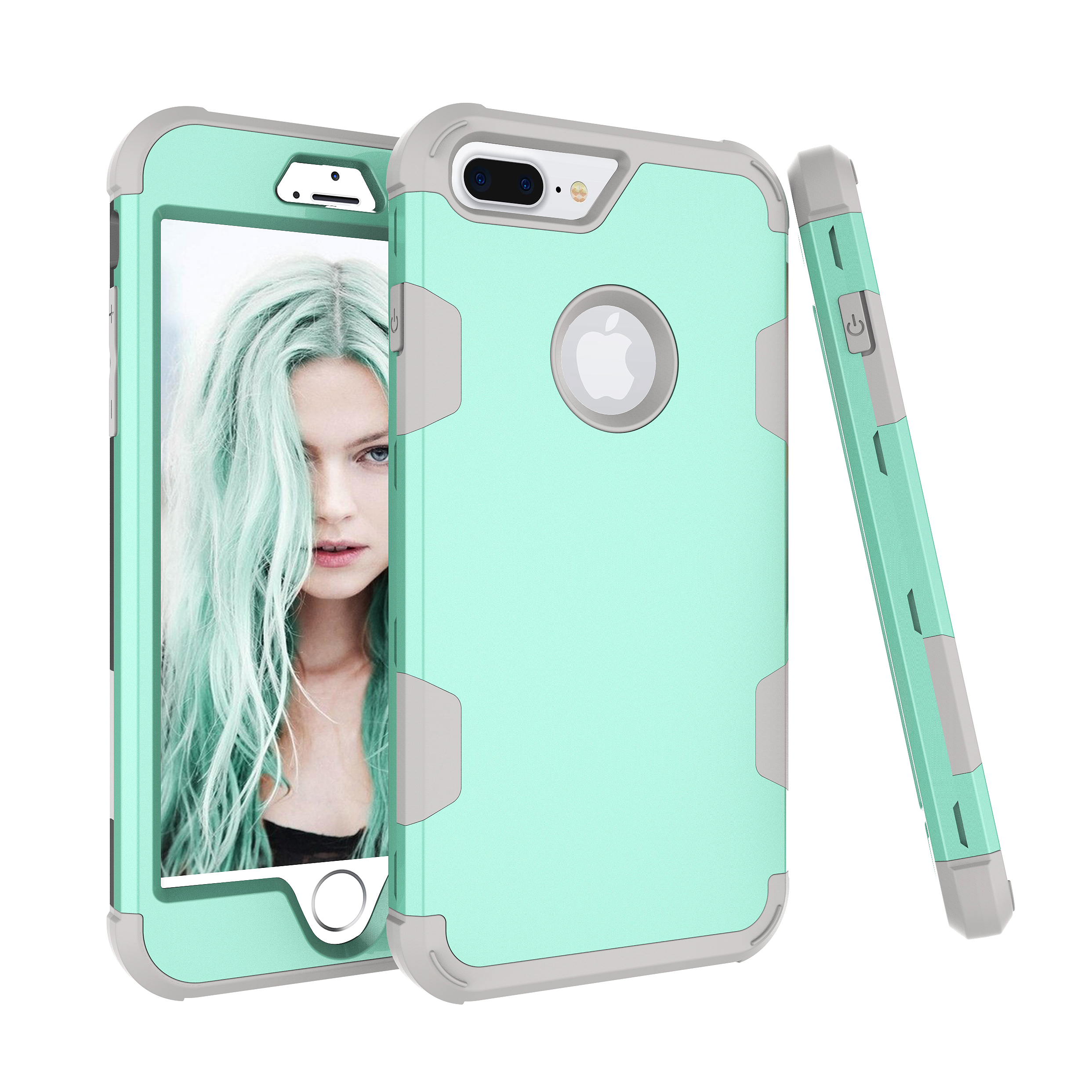 For iPhone 7 plus PC+ Silicone 2 in 1 Hit Color Tri-proof Shockproof Dustproof Anti-fall Protective Cover Back Case Mint green + gray