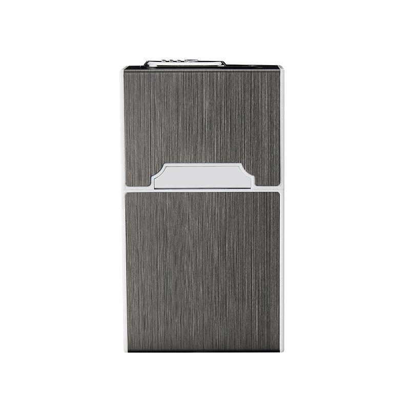 Portable Metal Cigarette Holder Case with Lighter black_HDB01