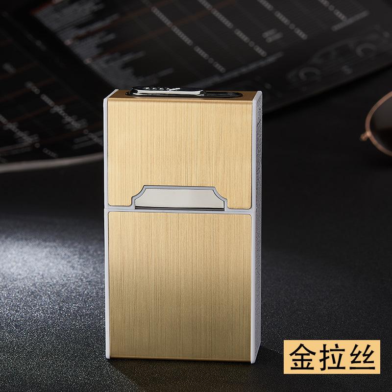 Portable Metal Cigarette Holder Case with Lighter Gold_HDB01