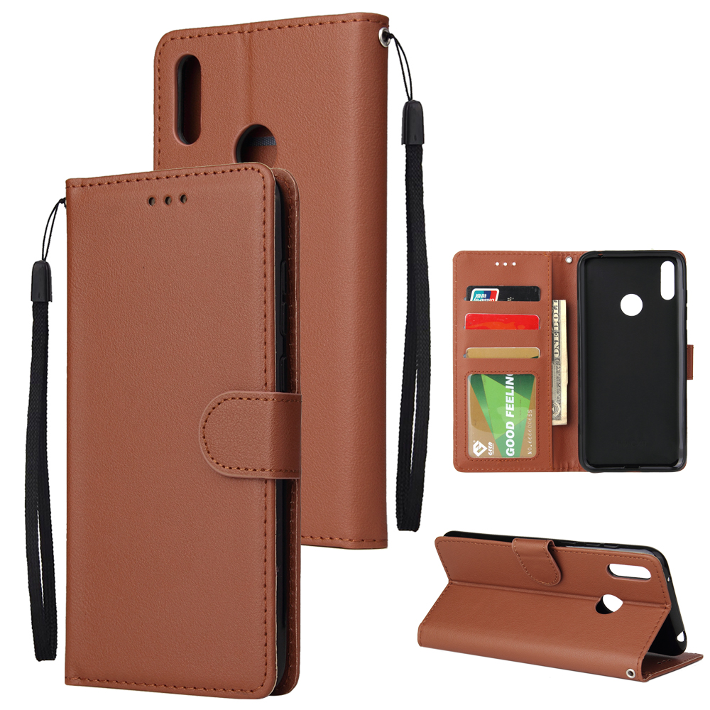 For HUAWEI Enjoy 9/ Y7 2019 /Y7 PRO 2019/Y7 PRIME 2019 Flip-type Leather Protective Phone Case with 3 Card Position Buckle Design Phone Cover  brown