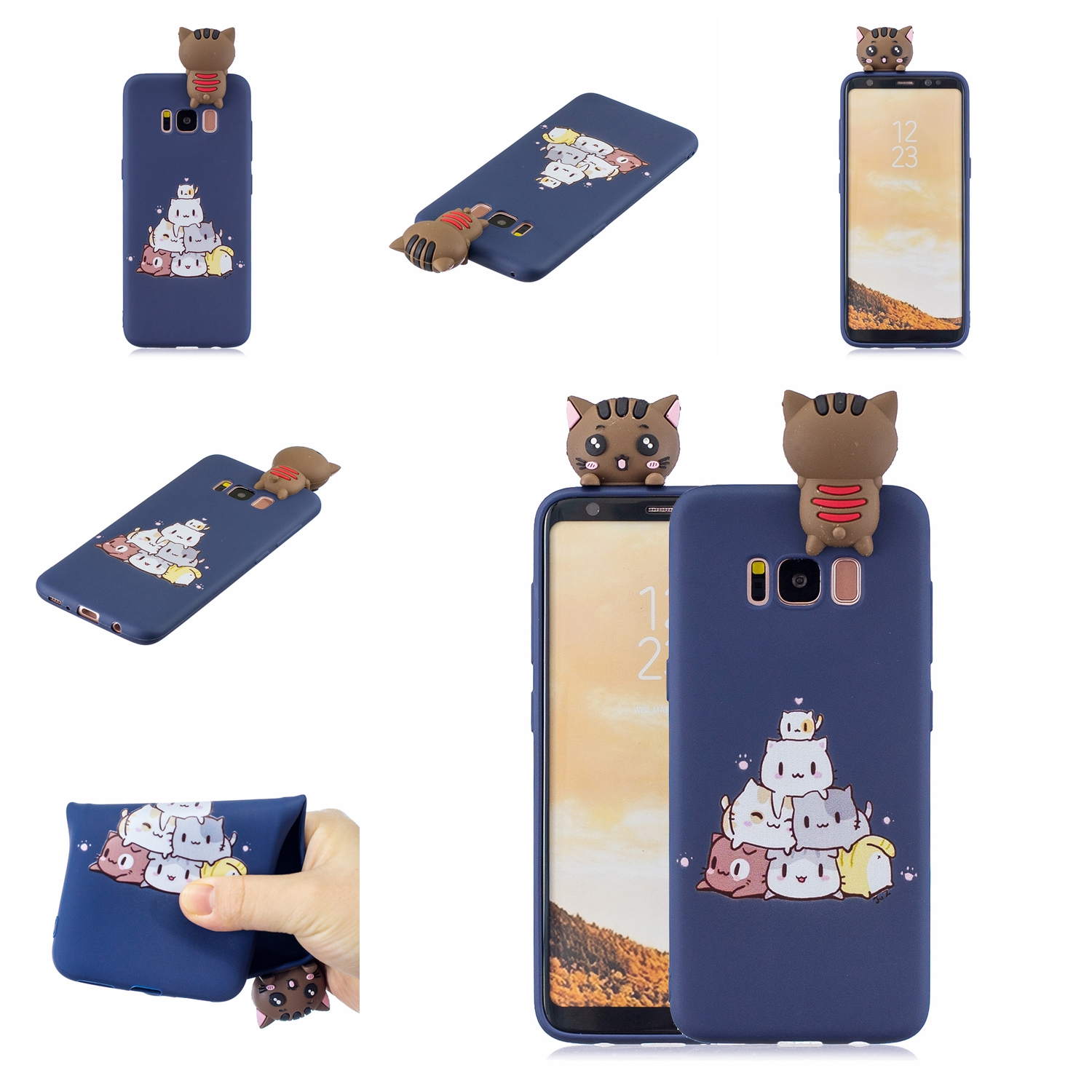 For Samsung S8 3D Cartoon Lovely Coloured Painted Soft TPU Back Cover Non-slip Shockproof Full Protective Case sapphire