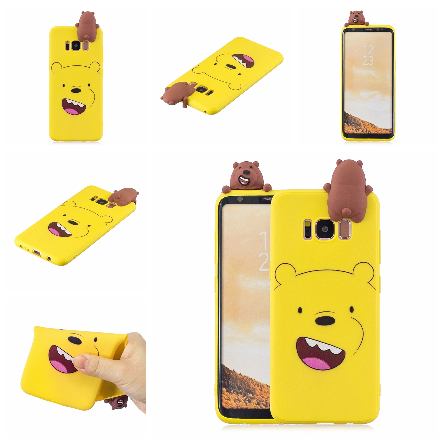 For Samsung S8 3D Cartoon Lovely Coloured Painted Soft TPU Back Cover Non-slip Shockproof Full Protective Case yellow
