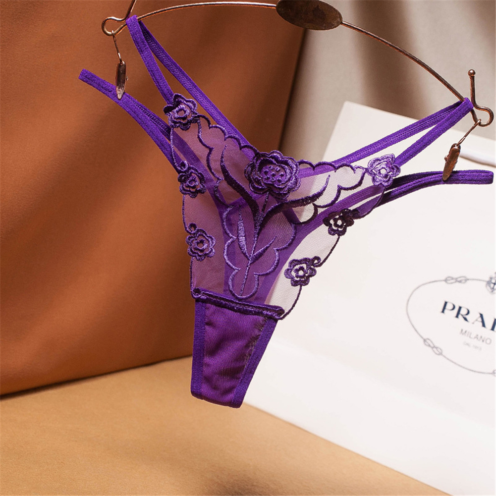 Women's  Thong  Sexy Embroidered  Net Yarn Transparent  Low-waist  Panties purple_free size