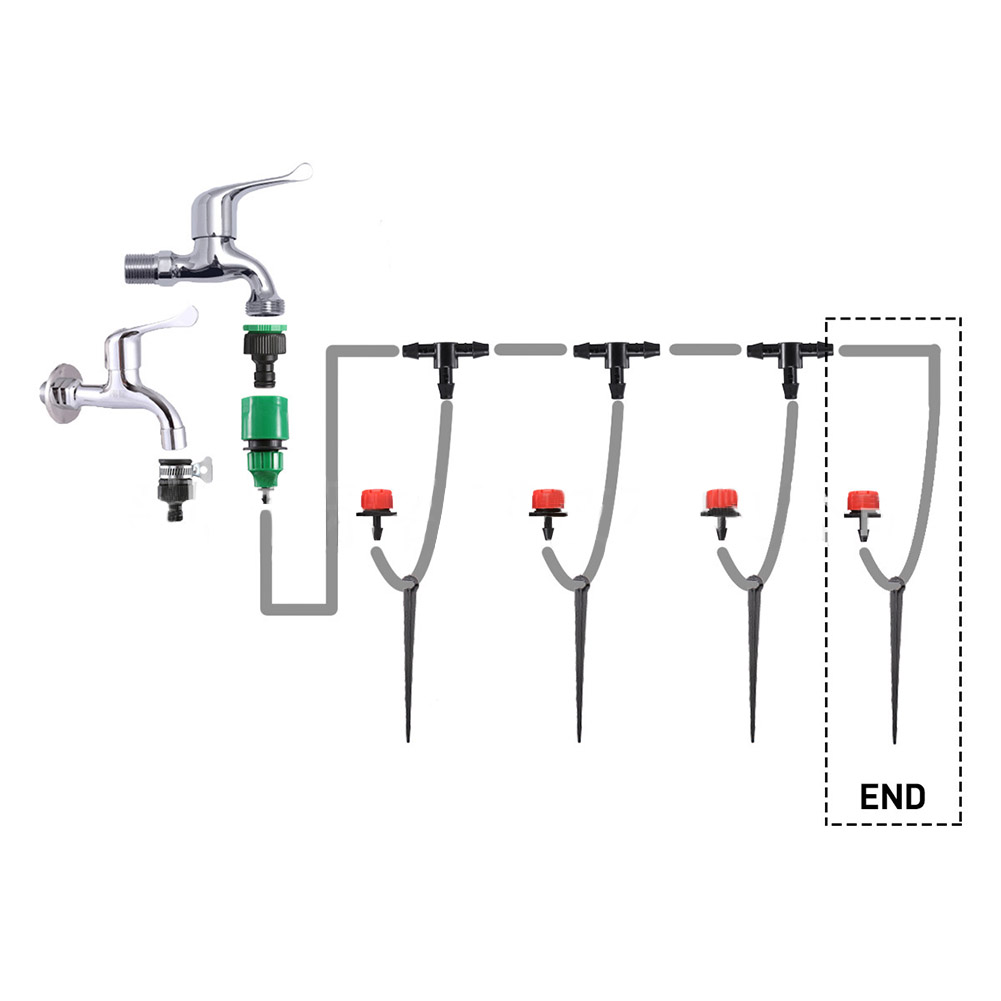 Drip Irrigation Kit Irrigation System Tubing Hose Automatic Saving Water System for Garden Lawn  1 set