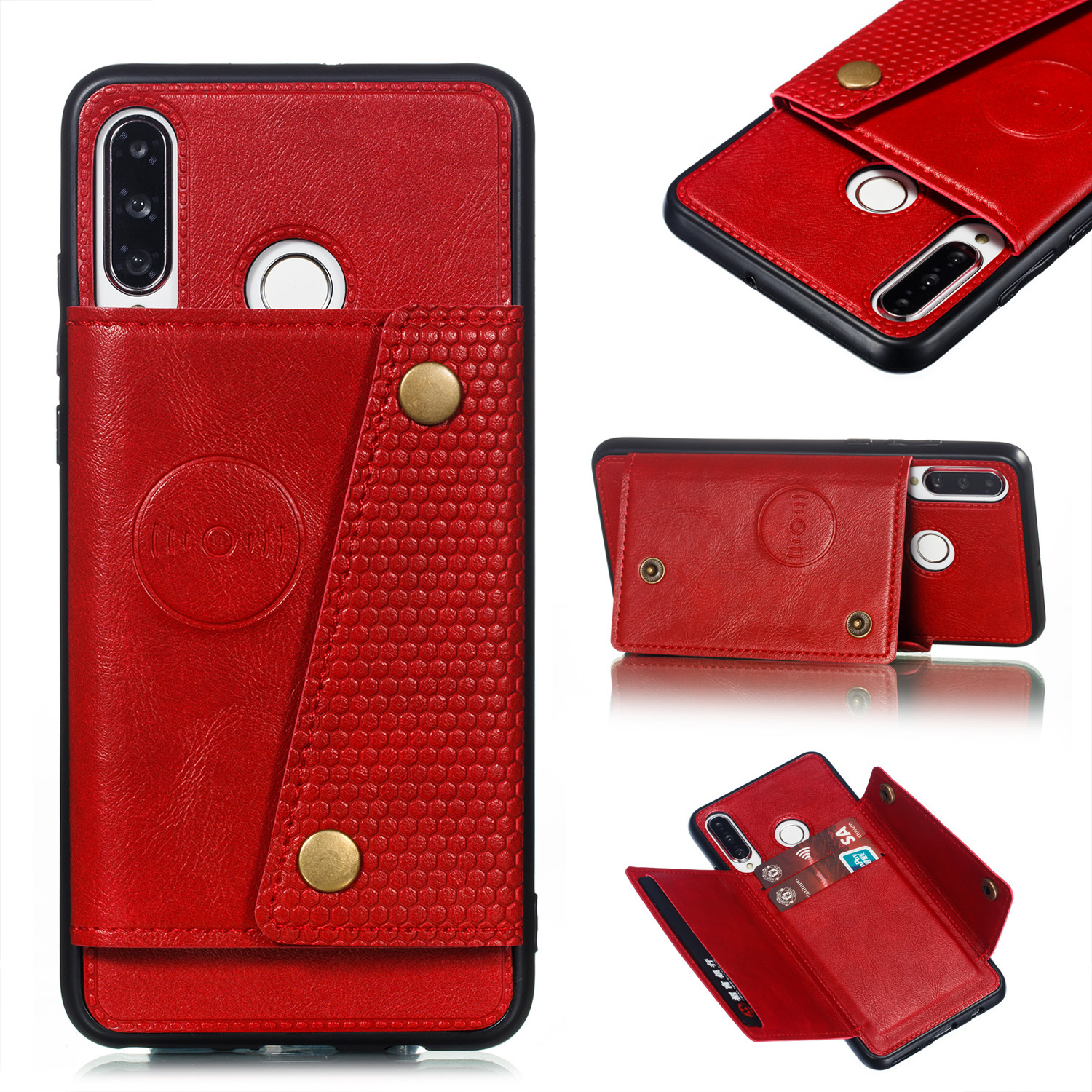 For Huawei P30 lite/nova 4E Double Buckle Non-slip Shockproof Cell Phone Case with Card Slot Bracket red