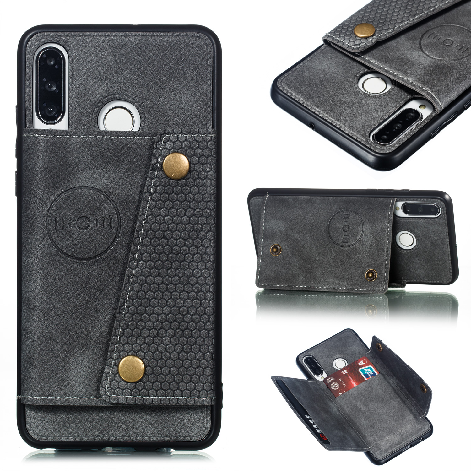 For Huawei P30 lite/nova 4E Double Buckle Non-slip Shockproof Cell Phone Case with Card Slot Bracket gray