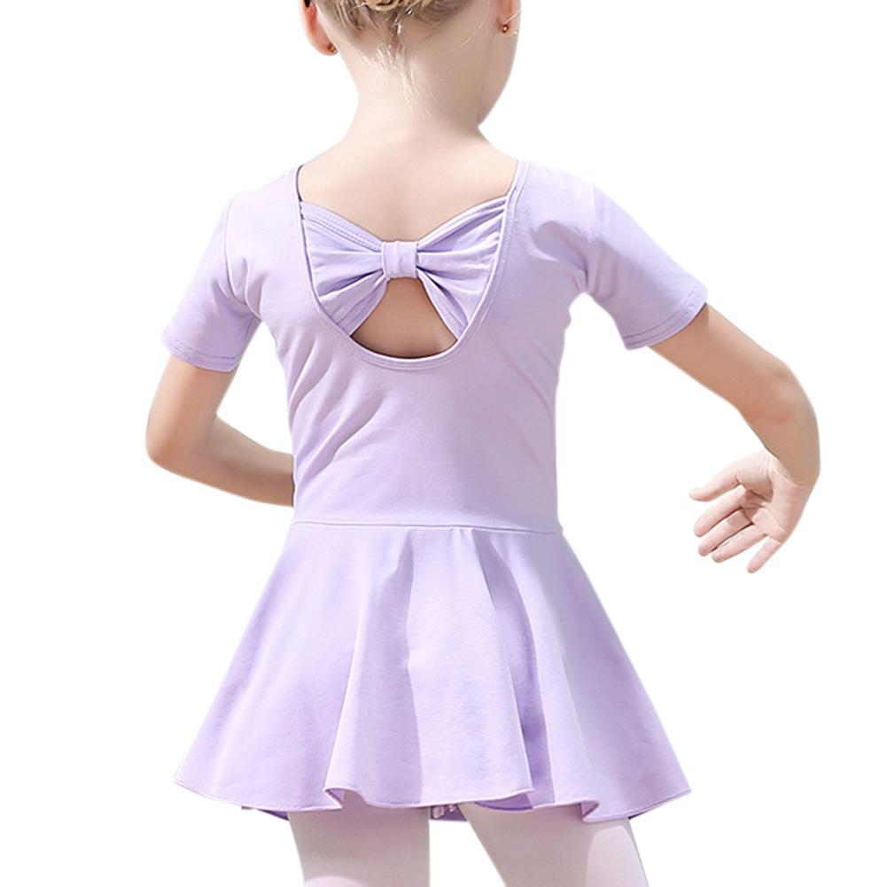 Kid Girl Gymnastics Ballet Tutu Dancer Leotard Dress Back Bowknot Bodysuit Dancewear purple_110cm