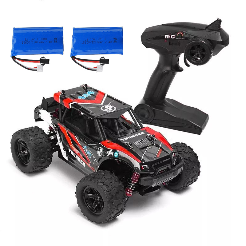 HS 18311/18312 1/18 40+MPH 2.4G 4CH 4WD High Speed Climber Crawler RC Car Toys red_Double battery