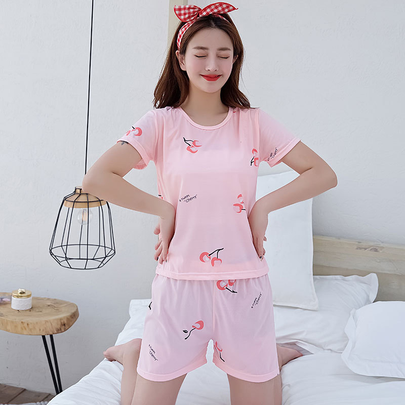 Woman Fashion Short Sleeves Cute Pattern Printing Homewear Suit #E Pink_L