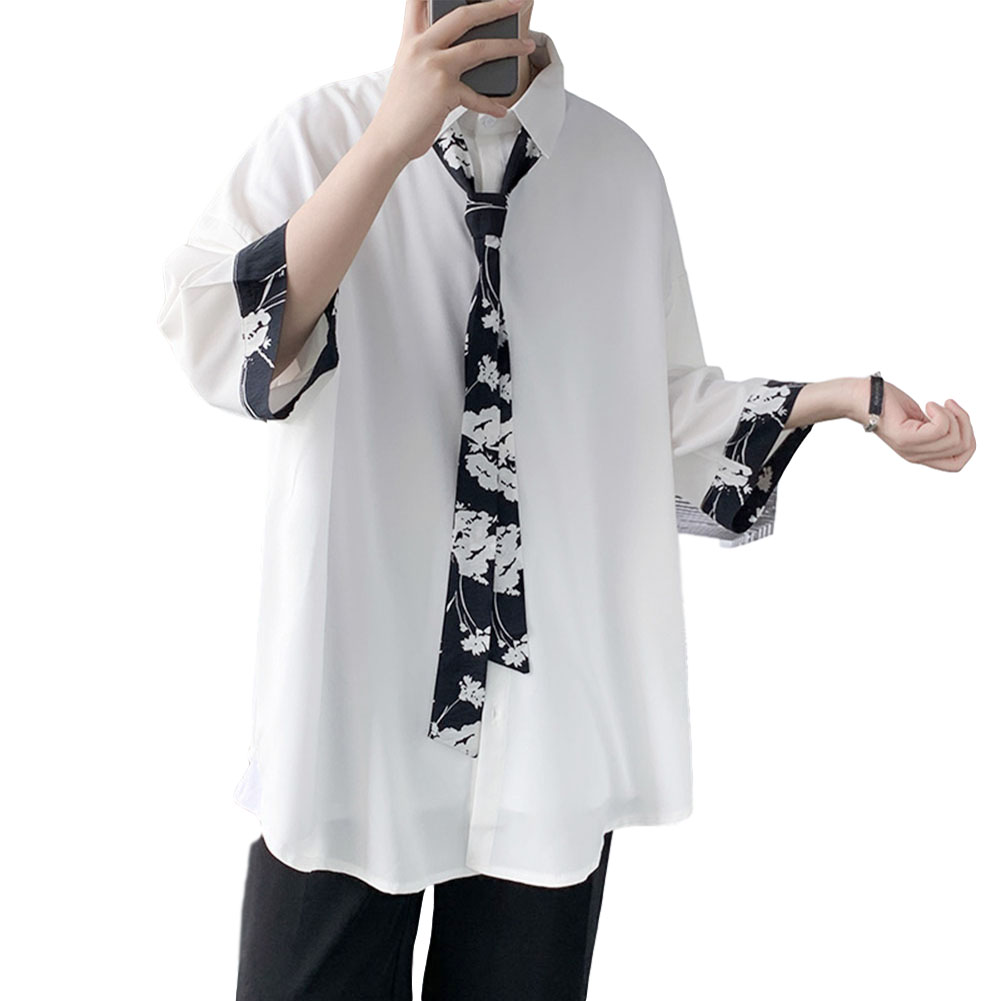 Men's Shirt Long-sleeve Lapel Loose Casual Floral Shirt with Tie White _L