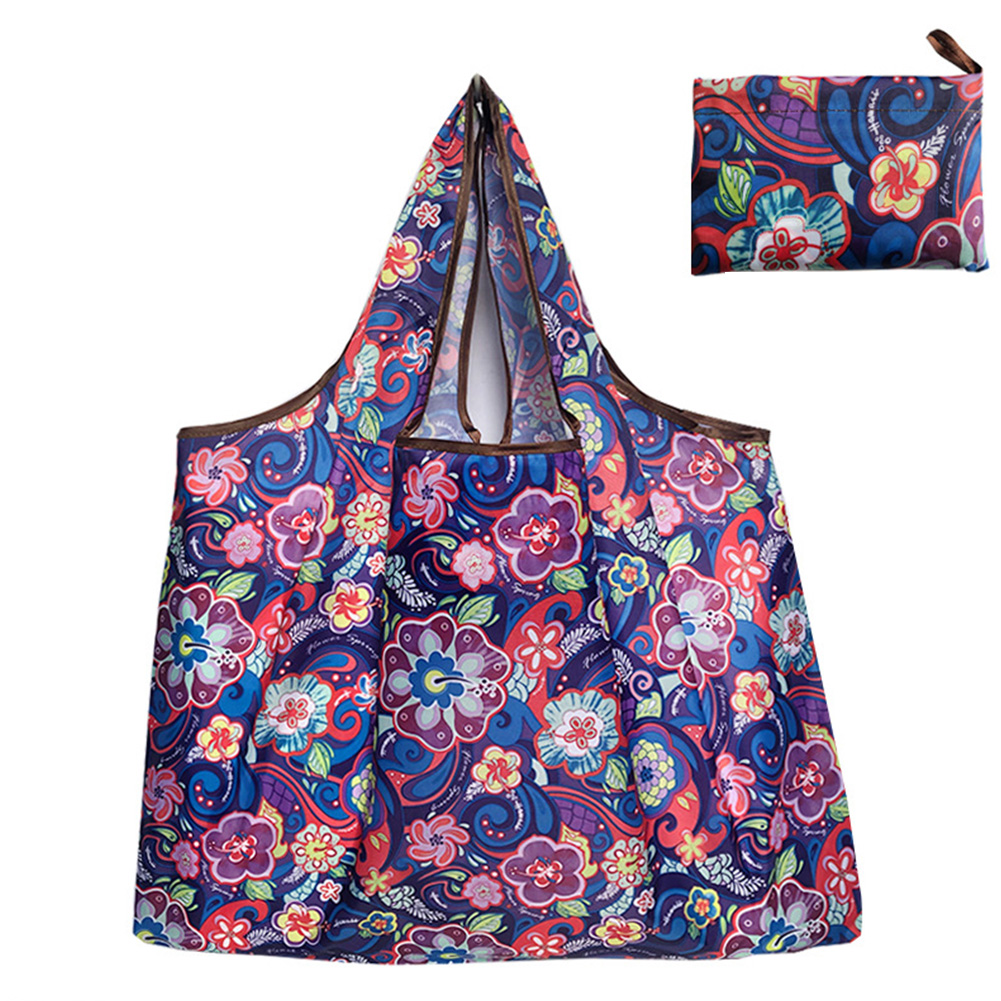 Reusable Foldable Shopping Bags Large Size Tote Bag with Handle Purple flower 127_XL