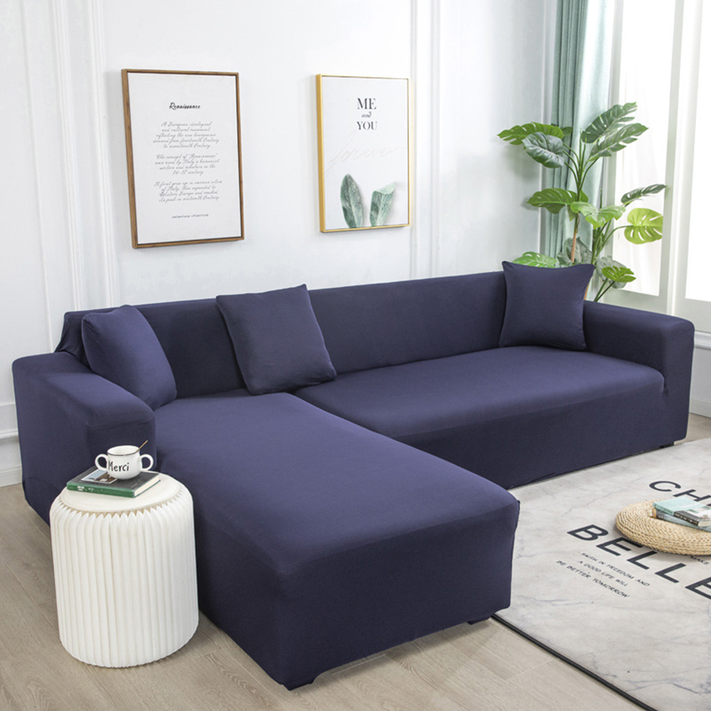 Universal Cloth Sofa Covers for Living Room Elastic Spandex Slipcovers Navy_Three persons (190-230cm applicable
