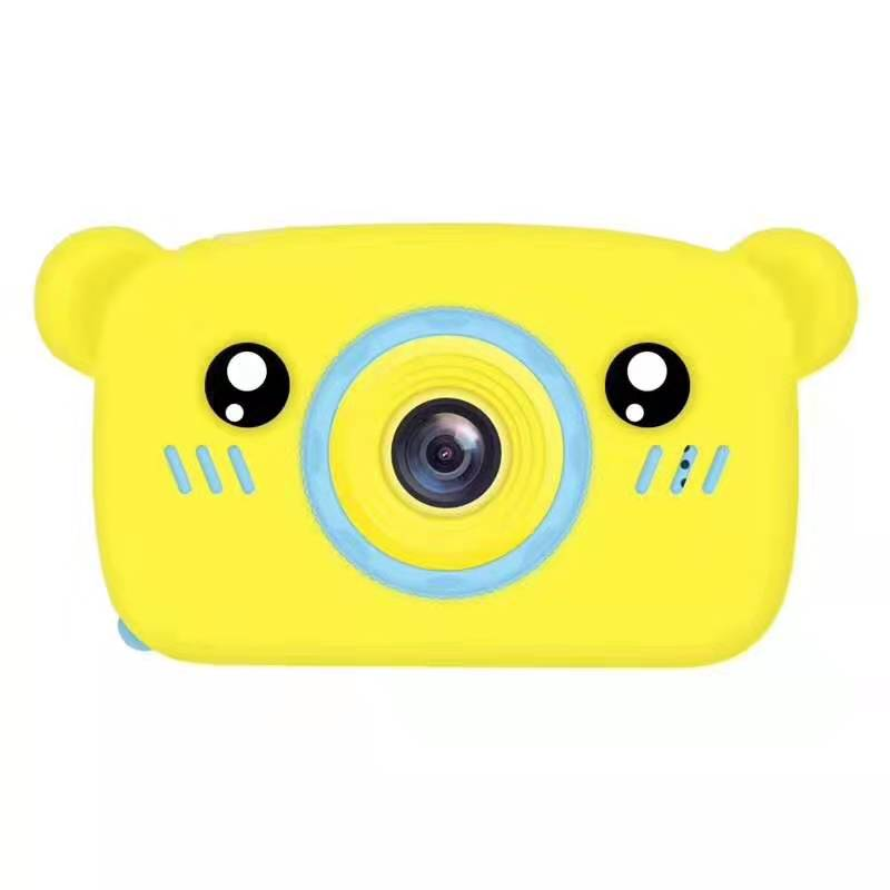 Lovely Auto Focus Digital Camera Cartoon High Definition Mini Sports Camera Toy Gift for Kids yellow_With 8G memory card