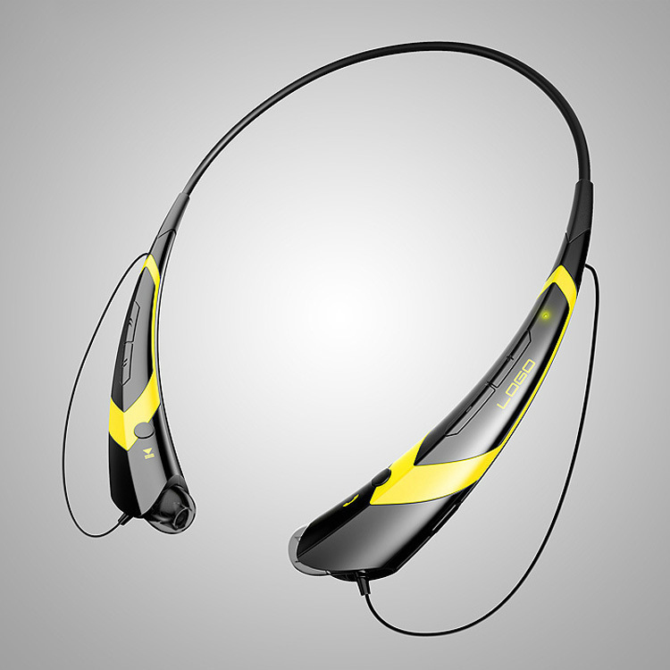 Wireless Bluetooth V4.2 + EDR Headphone Stereo Sports Headset Personality Portable Gift black+yellow