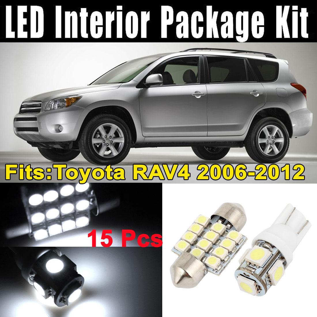 15Pcs LED Lights Interior White Dome Map Lamp Kit for Toyota RAV4 2006-2012 (7xT10-5-5050+8x31MM-12-3528)