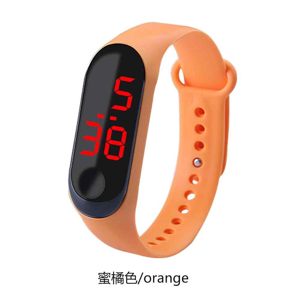 Fashion Student Couple Led Casual Sports Touch Electronic Watch Millet 3 Bracelet Watch Trend Fashion Mesh Belt Watch Orange