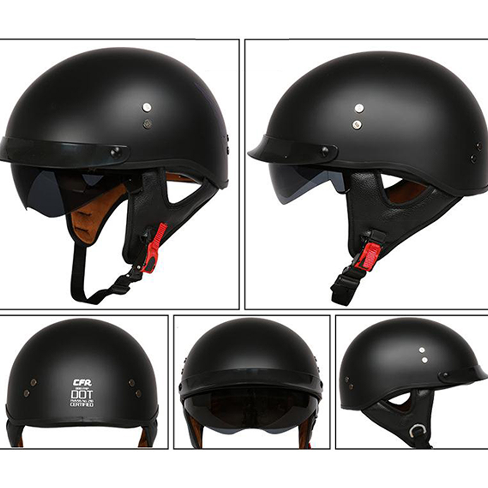 Retro Helemt Half Face Motorcylce Hat FRP Prince Helmet Sub-black L