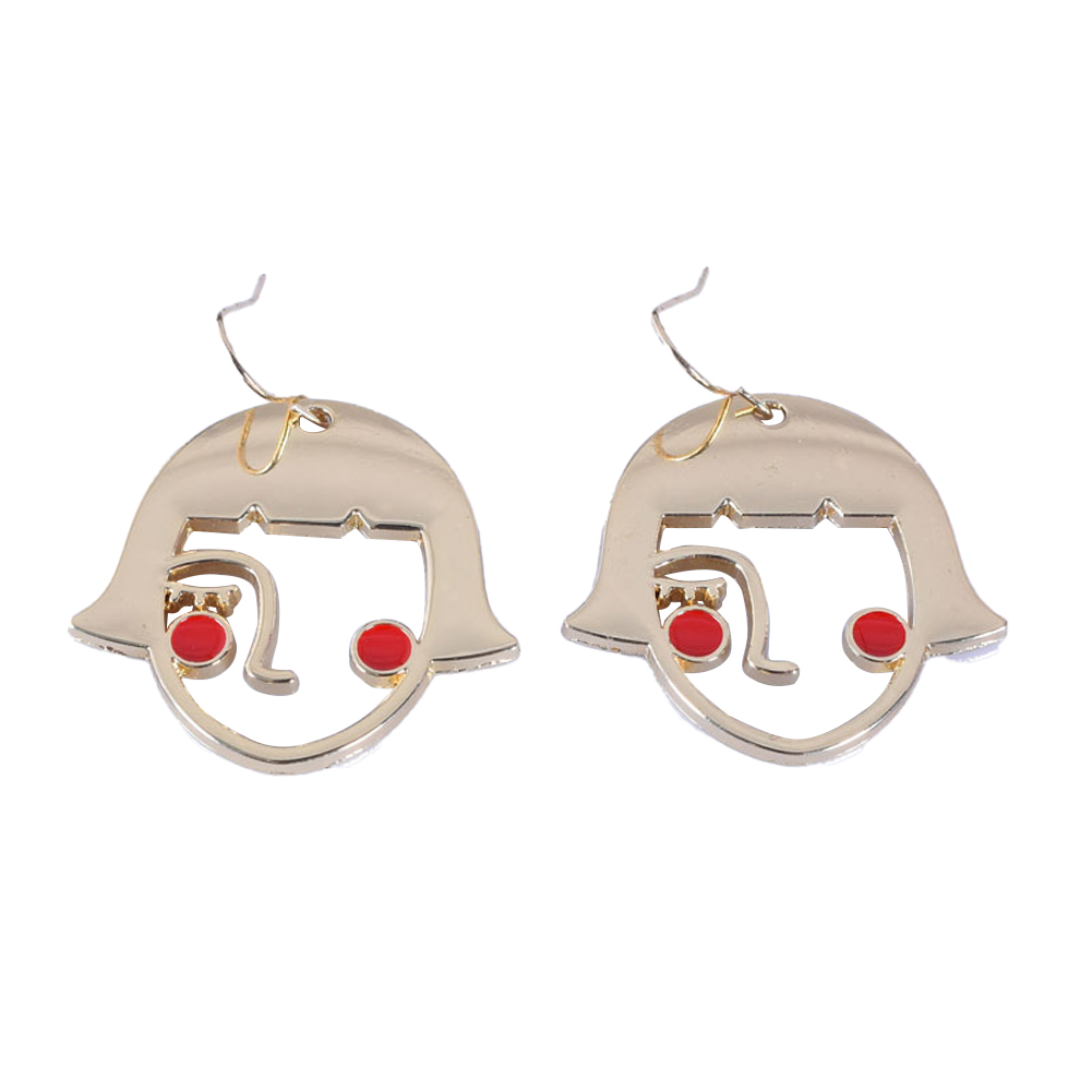 1 Pair of Women's Earrings Exaggerated Geometric Cartoon Earrings Golden