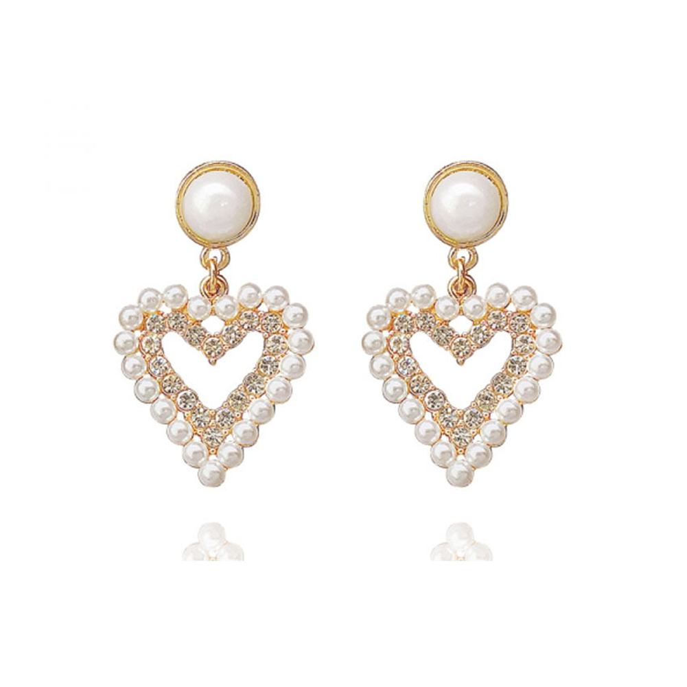 1 Pair of Women's Earrings Golden Love-heart Shape Pearl Earrings Golden