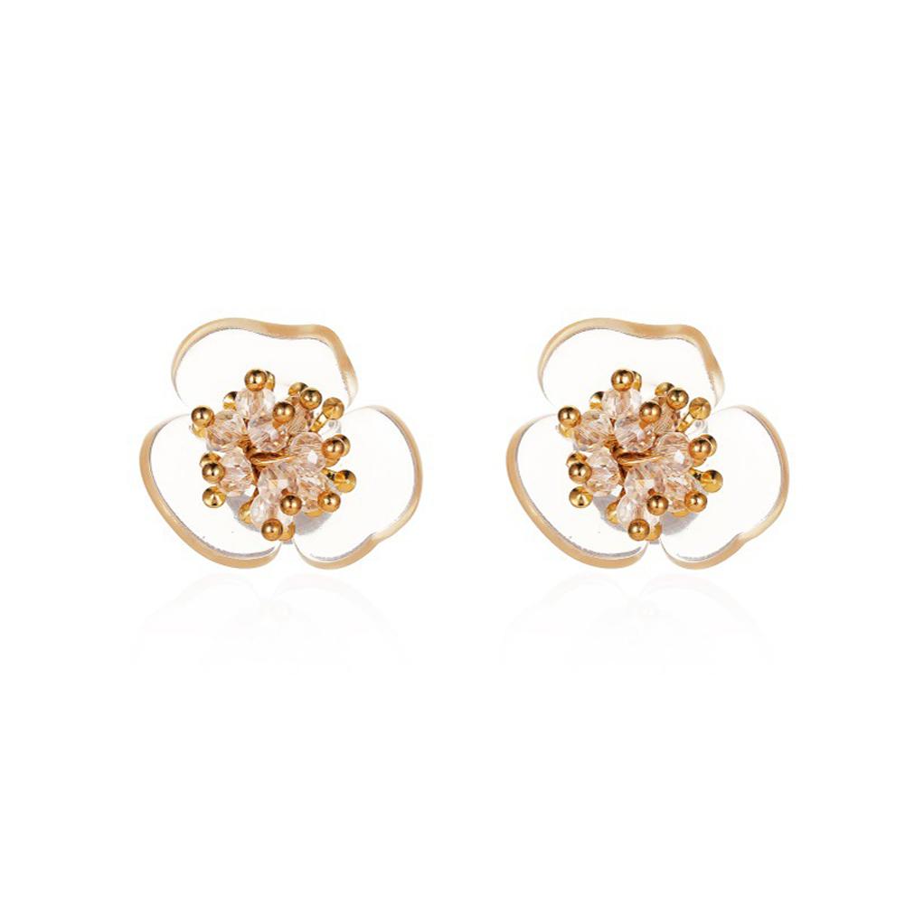 1 Pair of Women's Earrings Simple Style Transparent Flower Pearl Earrings 01 Three petals