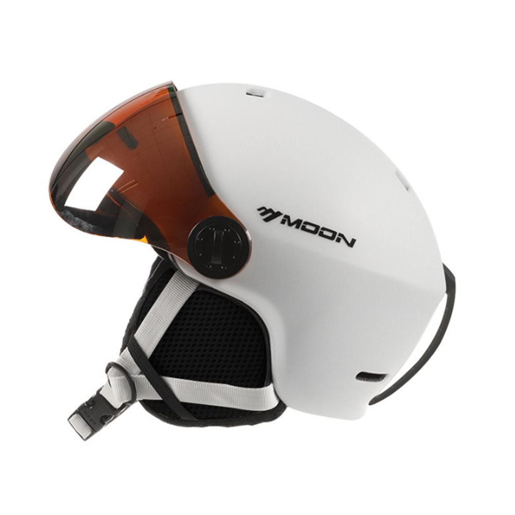 Ski Helmet Goggles Visor Men Women Snowboard Helmet Snowmobile Safety Helmet Mask white_M is suitable for 55-58CM head circumference