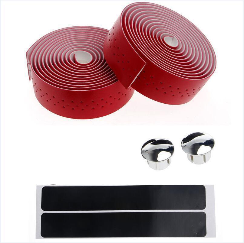 Fixed Gear Road Bike Anti-slip Handlebar Tape Bicycle Handle Belt Wrap+2 Bar Plug Bicycle Parts Bike Accessories red