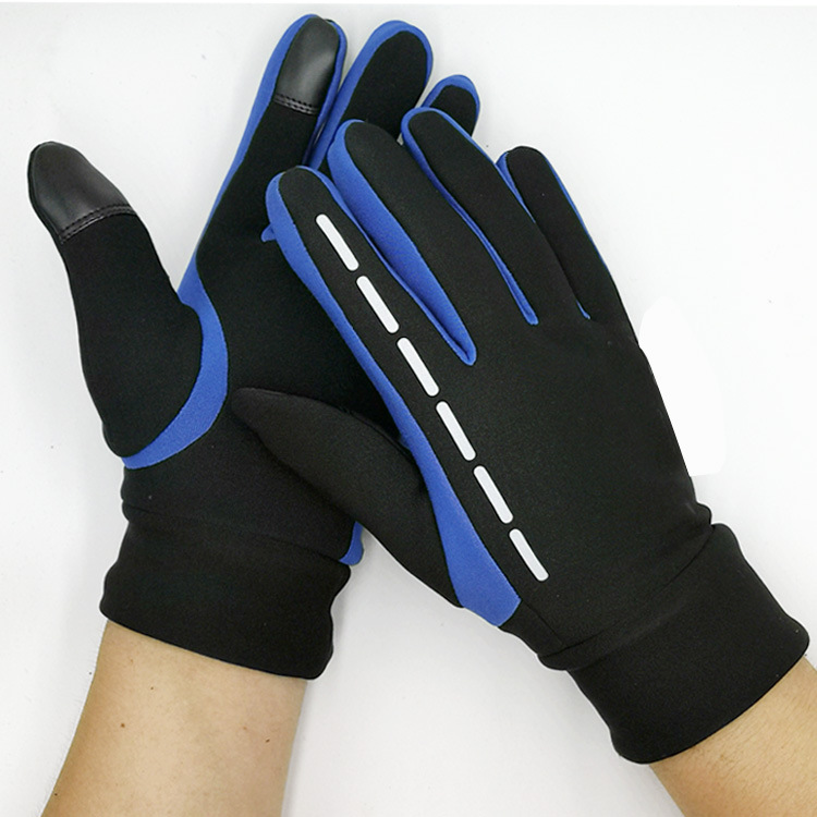 Gloves Winter Therm With Anti-Slip Elastic Cuff touch screen Soft Gloves Sport Driving Glove Cycling Warm Gloves blue_L