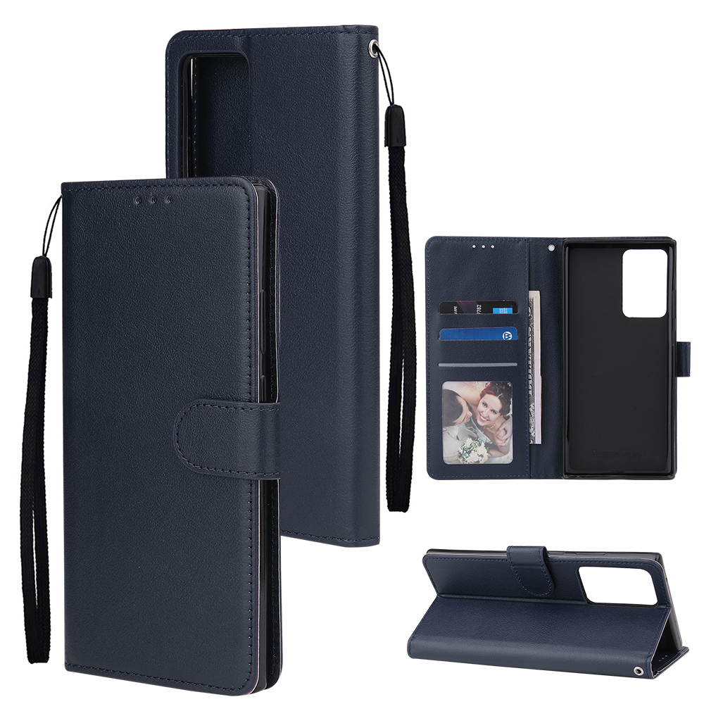For Samsung Note 20/Note 20 Ultra PU Leather Three-card Photo Frame Front Buckle Mobile Phone shell blue