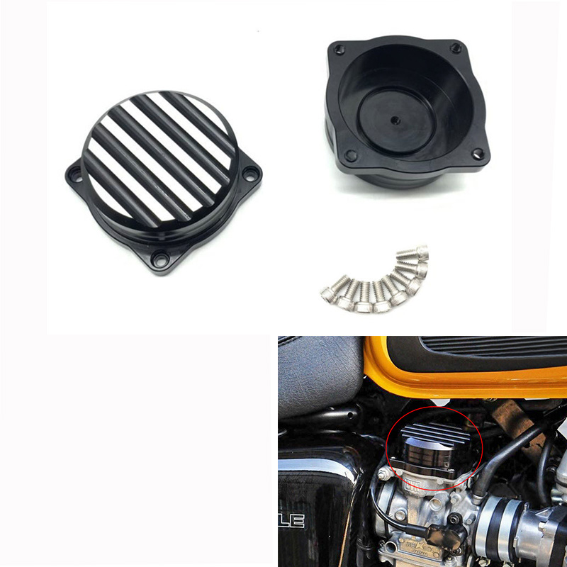 Motorcycle Injection Carburetor Cover Brass Carb Tops Top Ripple Caps for Bonneville Scrambler Thruxton 900 black
