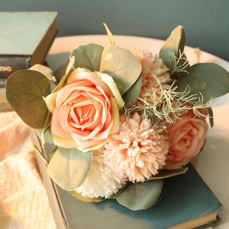 1bunch Fabric  Roses Artificial Flower Ornaments Green Plants Decorative Ornament Peach