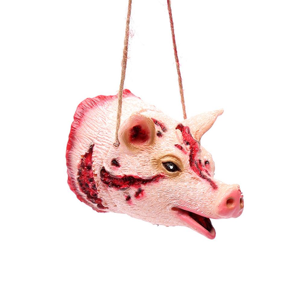 Tricky Joke Fake Animal Shape Prop Halloween Toy Party Decor Pig head