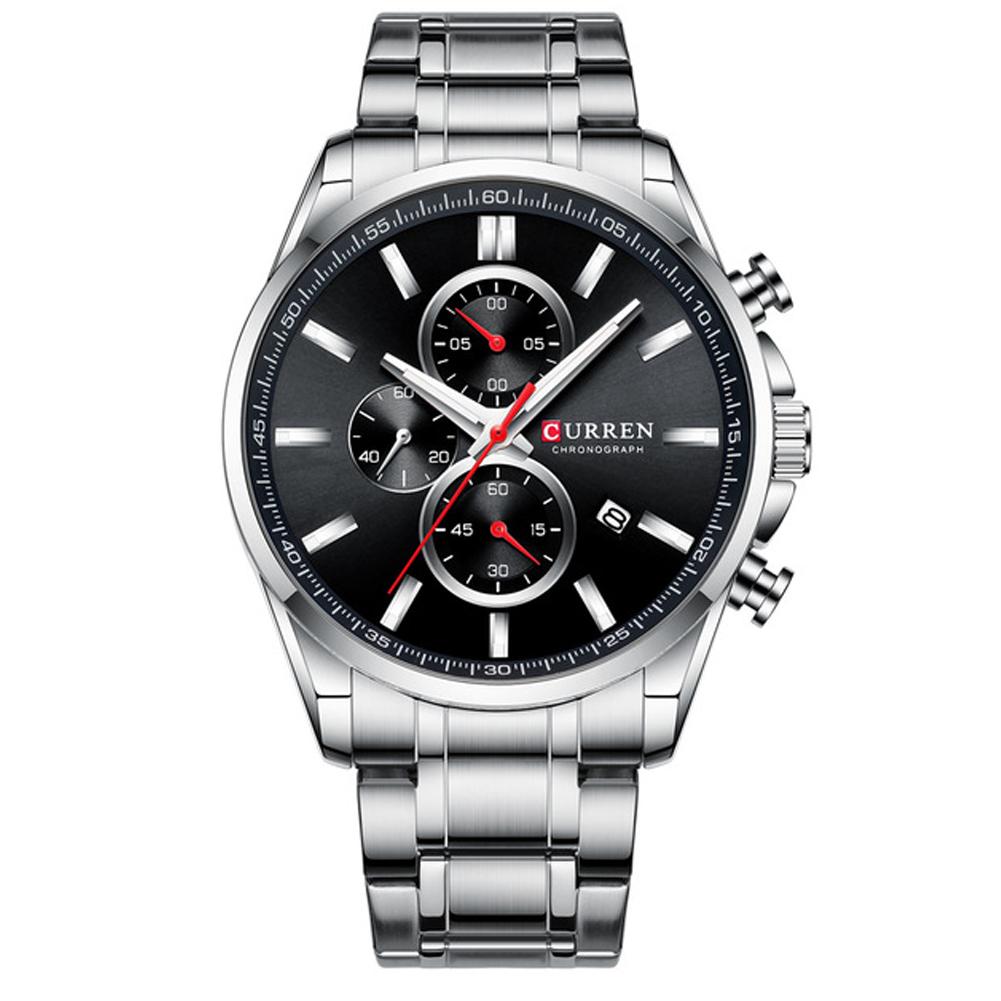 Men Quartz Watch Chronograph Date Luminous Waterproof Stainless Steel Band Business Wristwatch Silver + Black