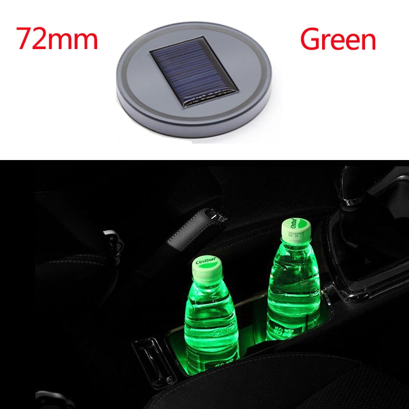 72mm Automobile LED Water Cup Mat Solar Energy Cup Pad Anti-skid Pad Car Interior Decoration green_72mm