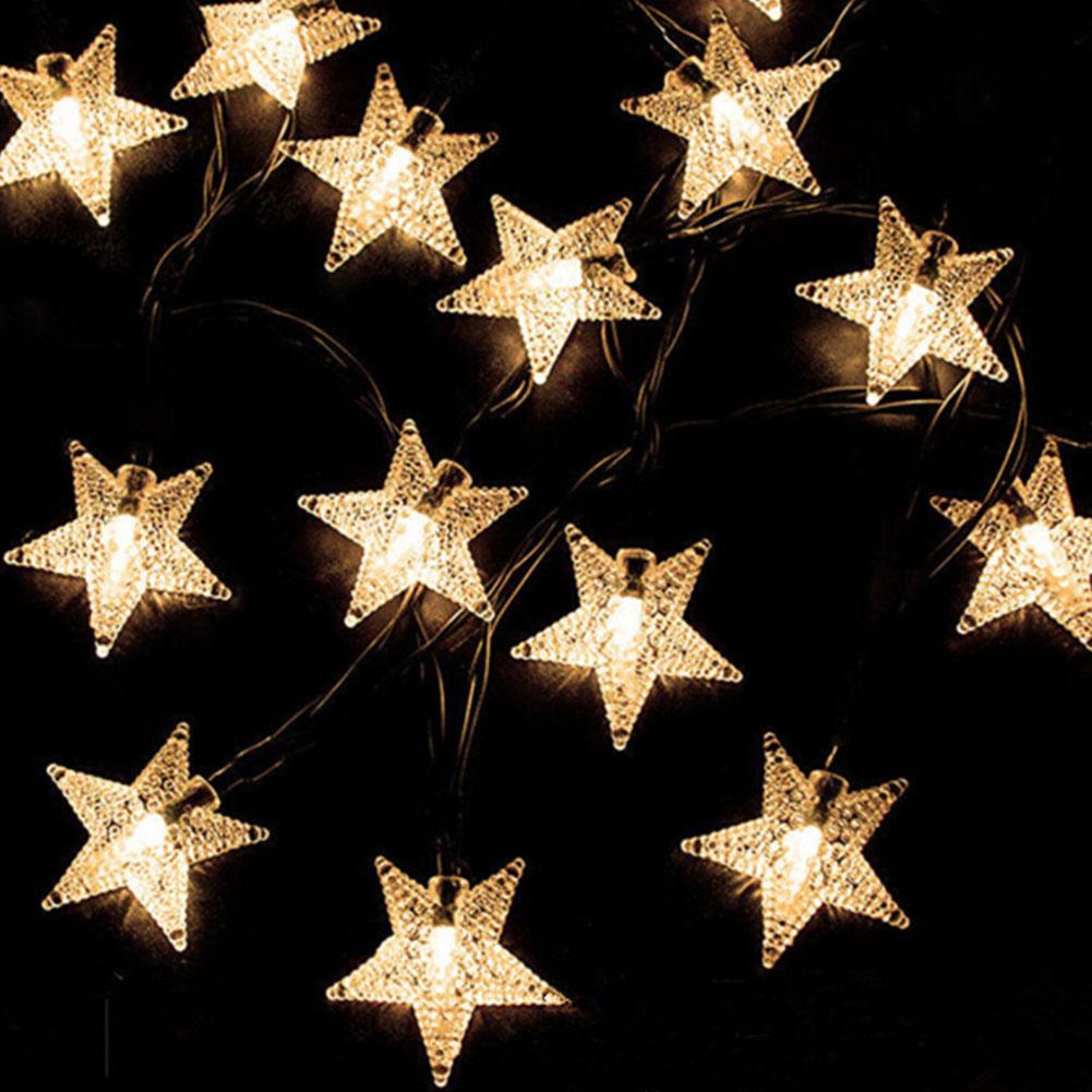 LED Waterproof Solar-Powered Star Shape String Light Night Lamp Outdoor Yard Garden Festival Wedding Decoration  12 m 100 LEDs- warm white