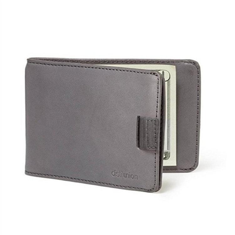 Men's Wallet Leather Pull-out 2 Folding Card Holder Wallet light grey