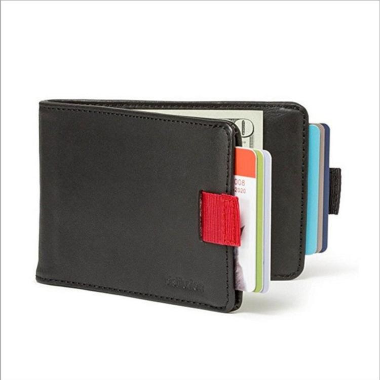 Men's Wallet Leather Pull-out 2 Folding Card Holder Wallet black