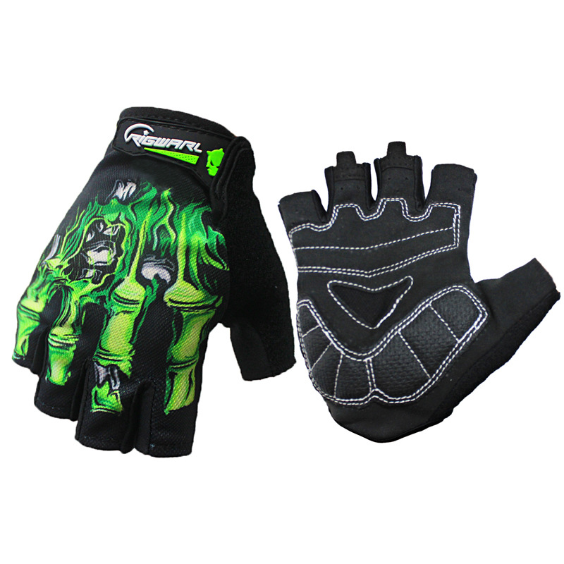 Half Finger Cycling  Gloves Silicone Gel Pad Breathable Motorcycle Bicycle MTB Road Bike Sports Gloves green_M