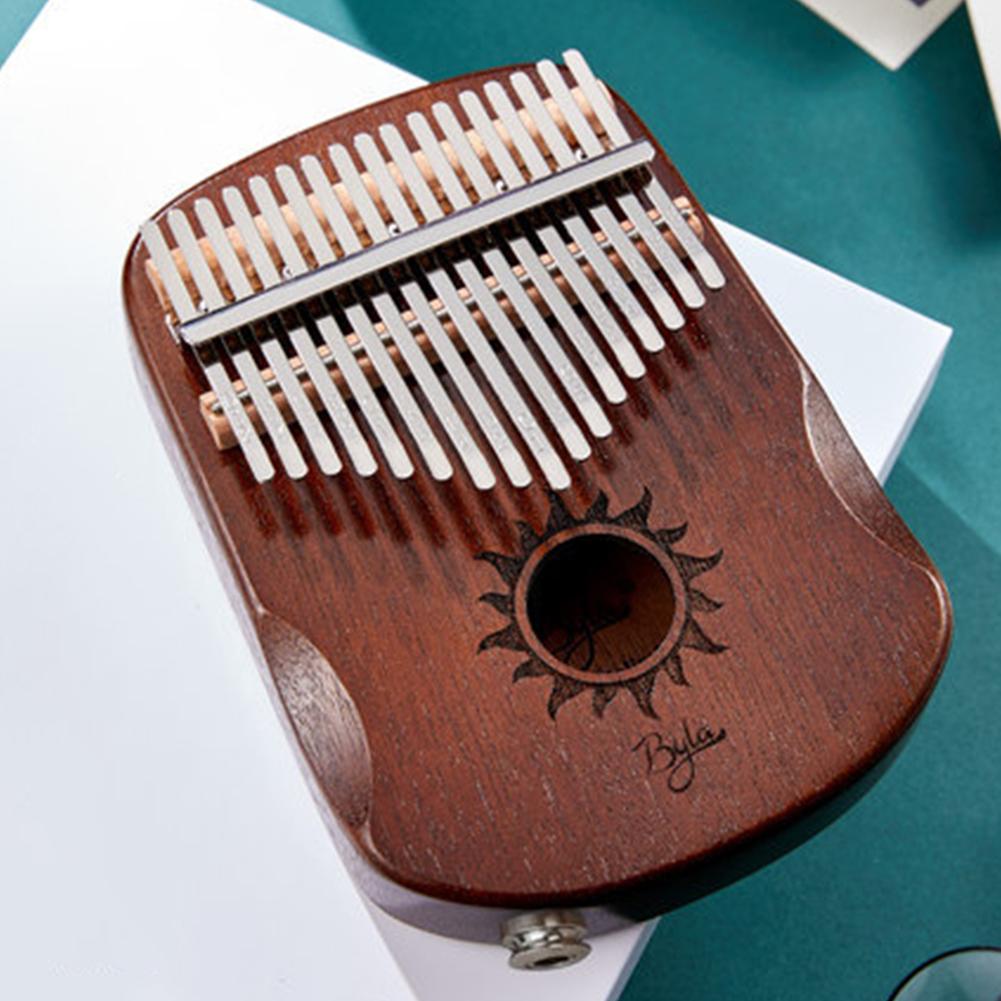 17 Keys EQ Kalimba Sun Pattern Mahogany Thumb Piano Classic Musical Instrument Wood Keyboard With Arc Hand Guards Retro EQ Kalimba