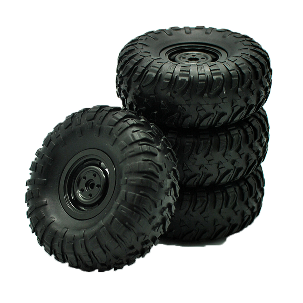 4PCS Metal Beadlock Wheel Rim Rubber Tires Set for MN45 D90 91 96 99 99S 99A 1/12 Rc Car black