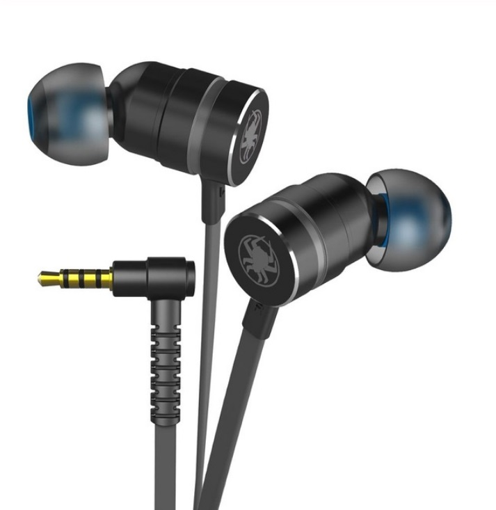 Small Hammerhead Earphone Game In-ear Headsets With Microphone Wired Magnetic Noise Isolation Stereo Headset black
