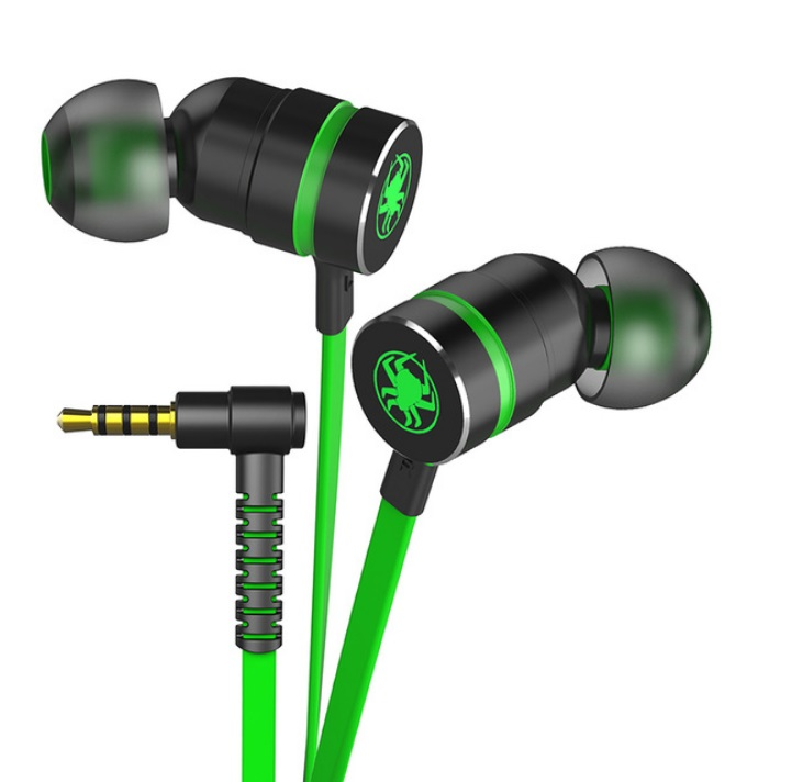 Small Hammerhead Earphone Game In-ear Headsets With Microphone Wired Magnetic Noise Isolation Stereo Headset green