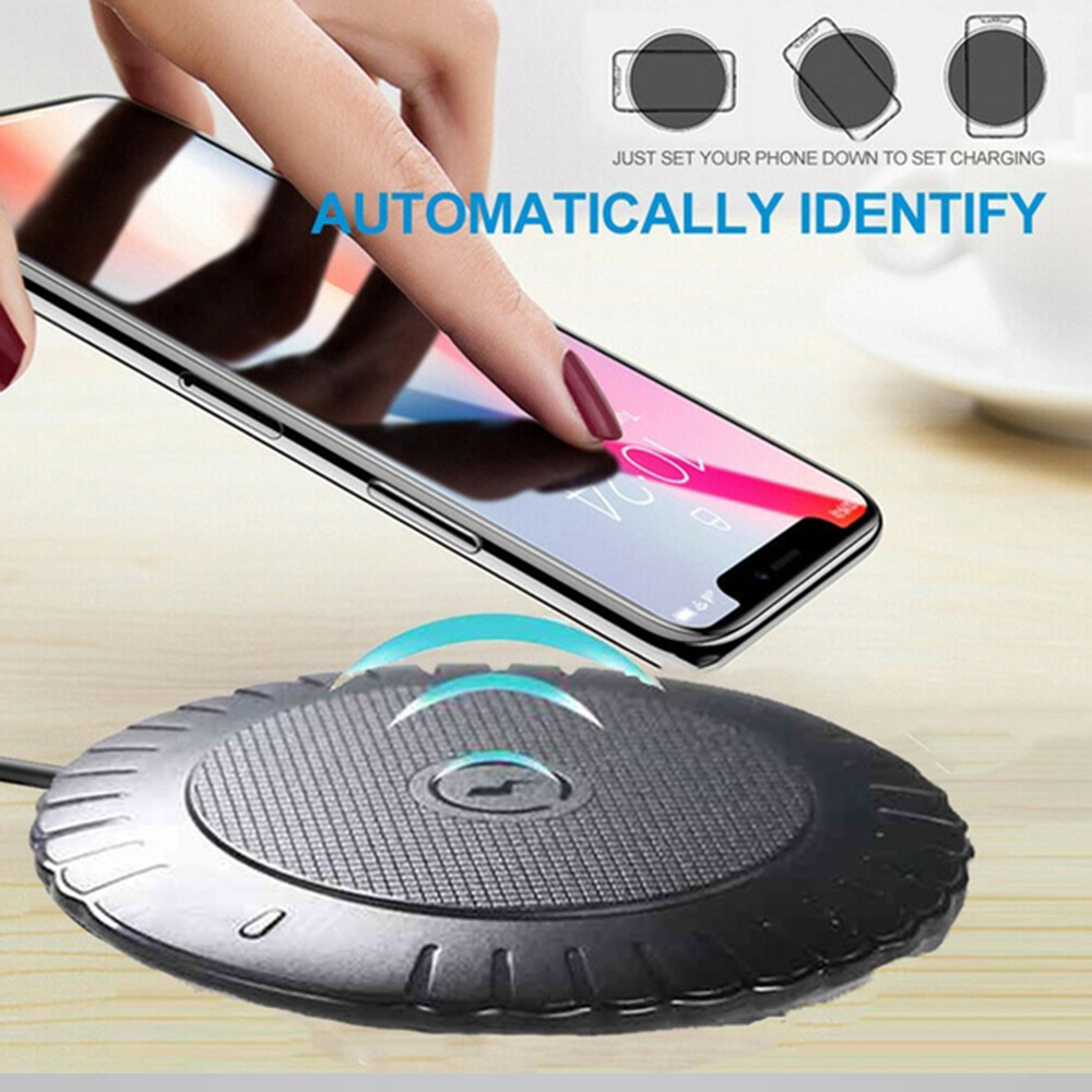 Wireless Charger Ultra-Thin Portable Charger Qi Fast Mobile Charger for Samsung for IPhone XS XS Max XR Fast Charger black