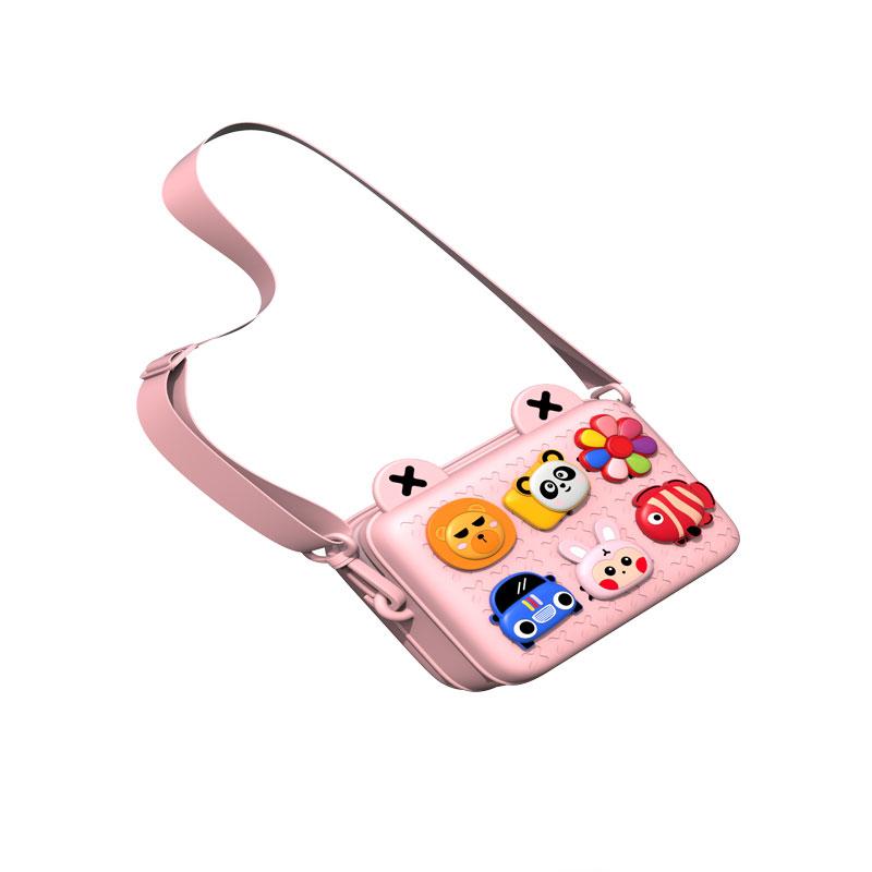 Children Bags Lovely Camera Single Shoulder Messenger Bags Chic Patchwork Purse Pink