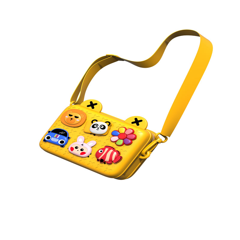 Children Bags Lovely Camera Single Shoulder Messenger Bags Chic Patchwork Purse yellow