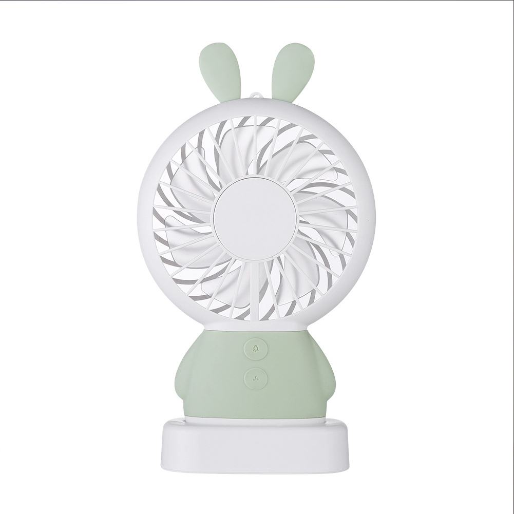 USB Rechargeable Handheld Cute Mini Fan with Colorful Light for Student green