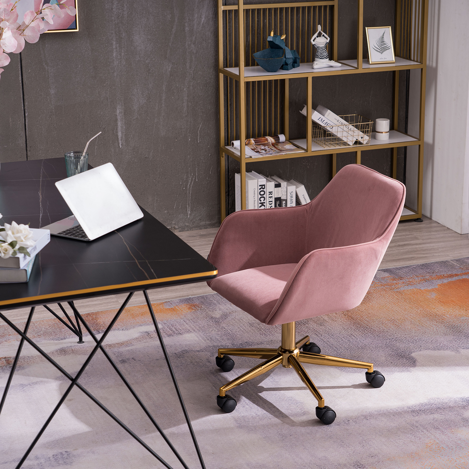 [US Direct] Modern Velvet Light Coffee Material Adjustable Height 360 revolving Home Office Chair with Gold Metal Legs and Universal Wheel for Indoor