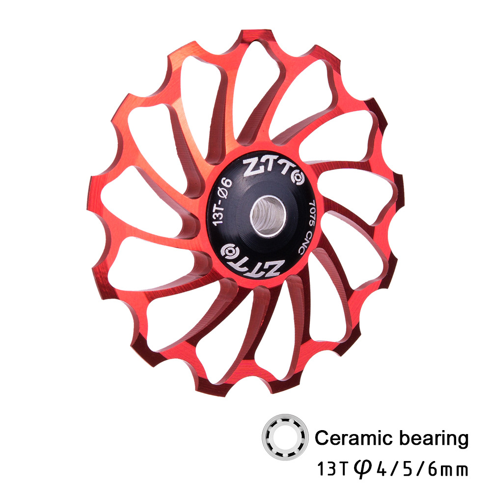 13T Mountain Bicycle Speed Regulator Aluminium Alloy Ceramic Bearing Rear Derailleur Guide Wheel Tooth Bearing Tension Wheel red