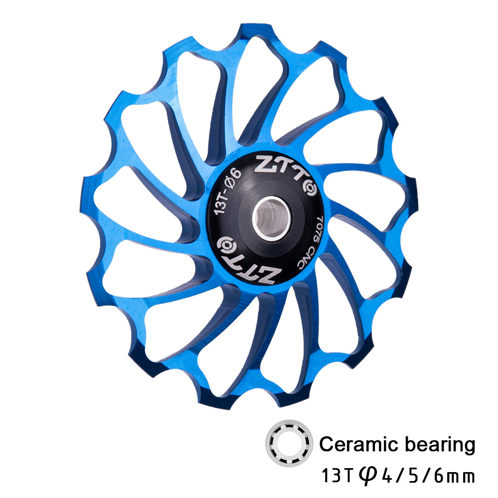 13T Mountain Bicycle Speed Regulator Aluminium Alloy Ceramic Bearing Rear Derailleur Guide Wheel Tooth Bearing Tension Wheel blue