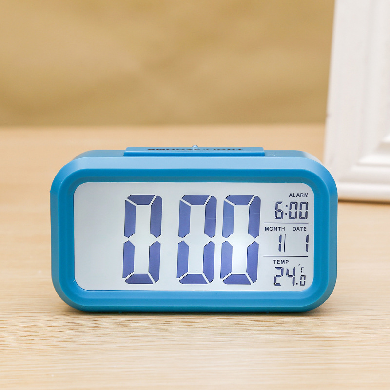 Digital Electronic Alarm  Clock With Lcd Backlight Time Calendar Thermometer blue